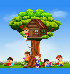 children playing and reading the book vector image