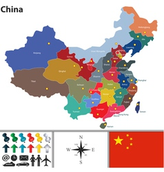 China map with color regions vector image