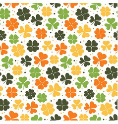 clover leaves seamless pattern colorful shamrock vector image