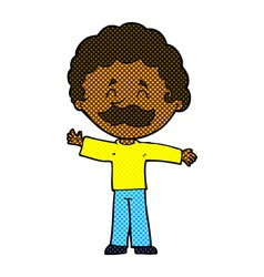 Comic cartoon boy with mustache vector