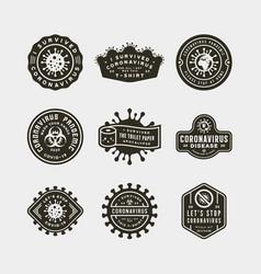 coronavirus pandemic badges health and medical vector image