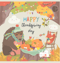 cute animals celebrating thanksgiving day vector image