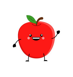 cute cartoon apple kawai apple vector image