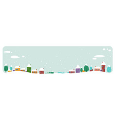 cute houses snowy town on winter background merry vector image