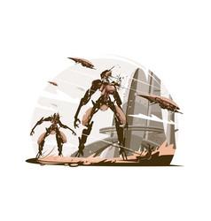 cyborgs on battle field vector image