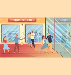 Dance school concept people are having a dance vector