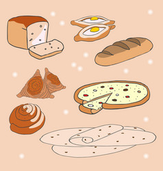 delicious baking of various cuisines of the vector image