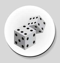 Dice sticker icon flat style vector