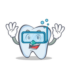 diving tooth character cartoon style vector image