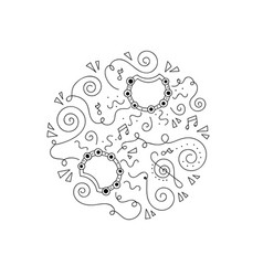 Doodle tambourine coloring page vector