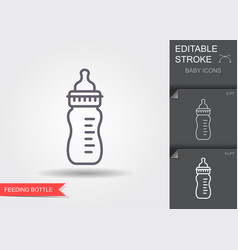 feeding bottle line icon with editable stroke vector image
