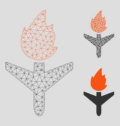 Fired aircraft mesh 2d model and triangle vector