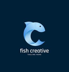 fish creative abstract sign emblem or logo vector image