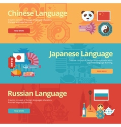 Flat banners for chinese japanese russian vector