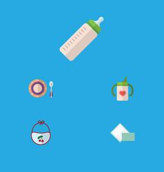flat icon infant set of nursing bottle napkin vector image