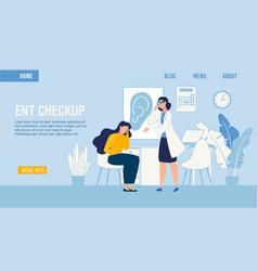 Flat landing page medical ent checkup service vector