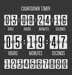 flip countdown clock counter timer on black vector image