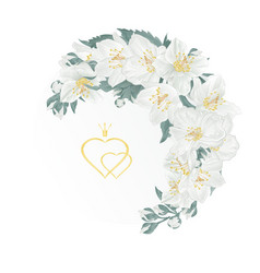 floral crescent frame with jasmine and buds vector image
