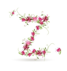 Floral letter Z for your design vector image