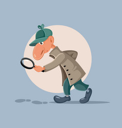 Funny detective with magnifying glass following vector