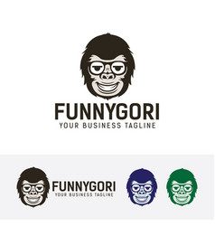 Funny gorilla logo design vector