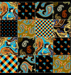 Geometric patchwork pattern of a squares vector