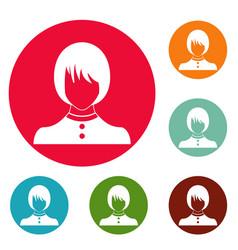 girl user icons circle set vector image
