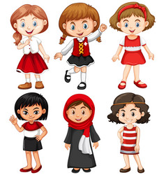girls in red and black costumes vector image
