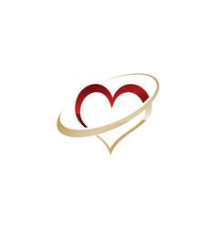 glossy heart logo design template vector image