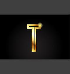 Gold alphabet letter t logo icon design vector