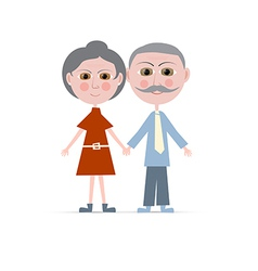 Granny and Grandpa Isolated on white Backgro vector image