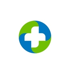 Green and blue medical cross logo Round vector image