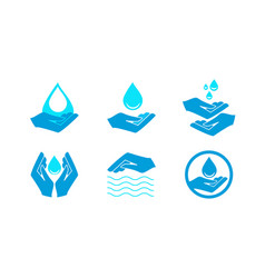 Hand holds water drop icon vector