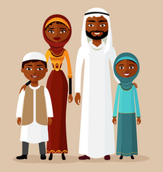 happy arab family in national clothes vector image