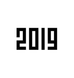happy new year 2019 pixel art style vector image