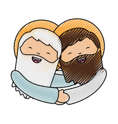 Holy jesuschrist with god character icon vector