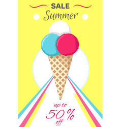 Hot summer poster with ice cream banner vector