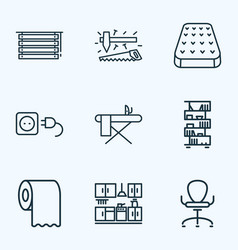 House icons line style set with mattress toilet vector
