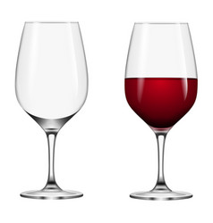 isolated full and empty wine glass vector image