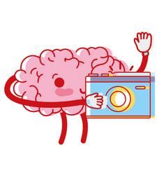 Kawaii happy brain with digital camera vector