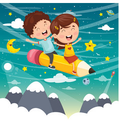Kids flying with pencil vector