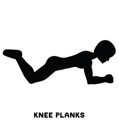 knee planks sport exersice silhouettes of woman vector image