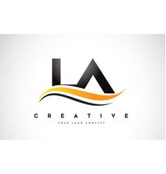 La l a swoosh letter logo design with modern vector