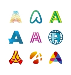 Letter a logo set color icon templates design vector
