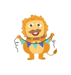 Lion-like Friendly Monster With Garland vector