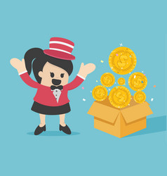 magic show that makes a lot coins out vector image