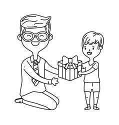 Man and child with gift black and white vector