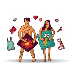 Man and woman couple naked sex relations isolated vector