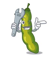 Mechanic green beans pod isolated on mascot vector