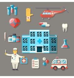 Medical Hospital Ambulance Healthcare Doctor Flat vector image